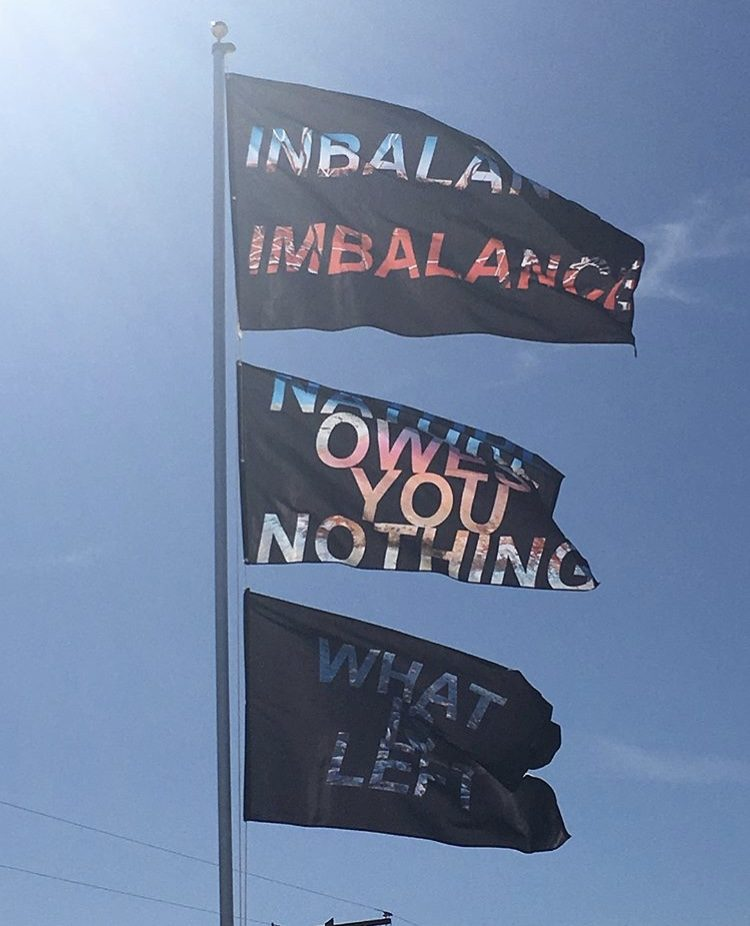 Flag of Rachel Libeskind performance at Bombay Beach Biennial 2018