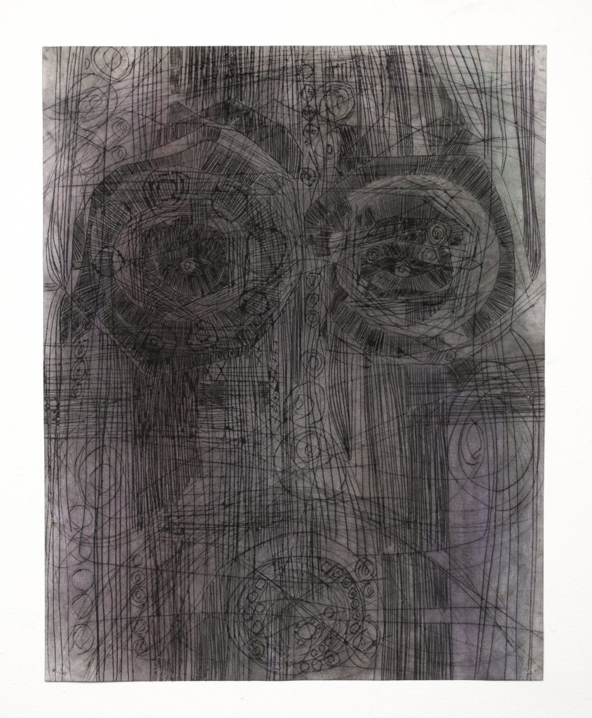 Lauriston Avery Astral Head 163. 2018. Charcoal and powdered pigment on etched paper.