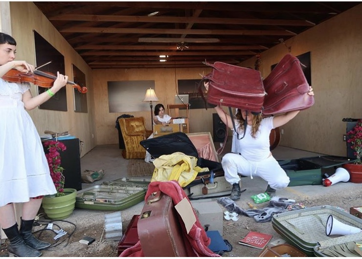 Rachel Libeskind performing Travelling Bag at Bombay Beach Biennial 2018