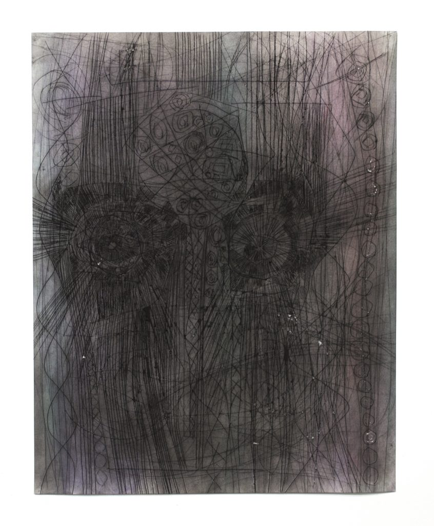 Lauriston Avery. Astral Head 166 2018. Charcoal and powdered Pigment on etched paper.