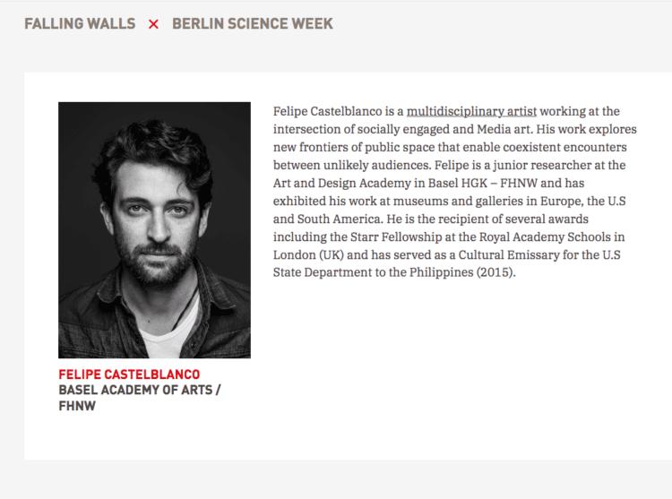 Felipe Castelblanco Finalist Breaking the wall