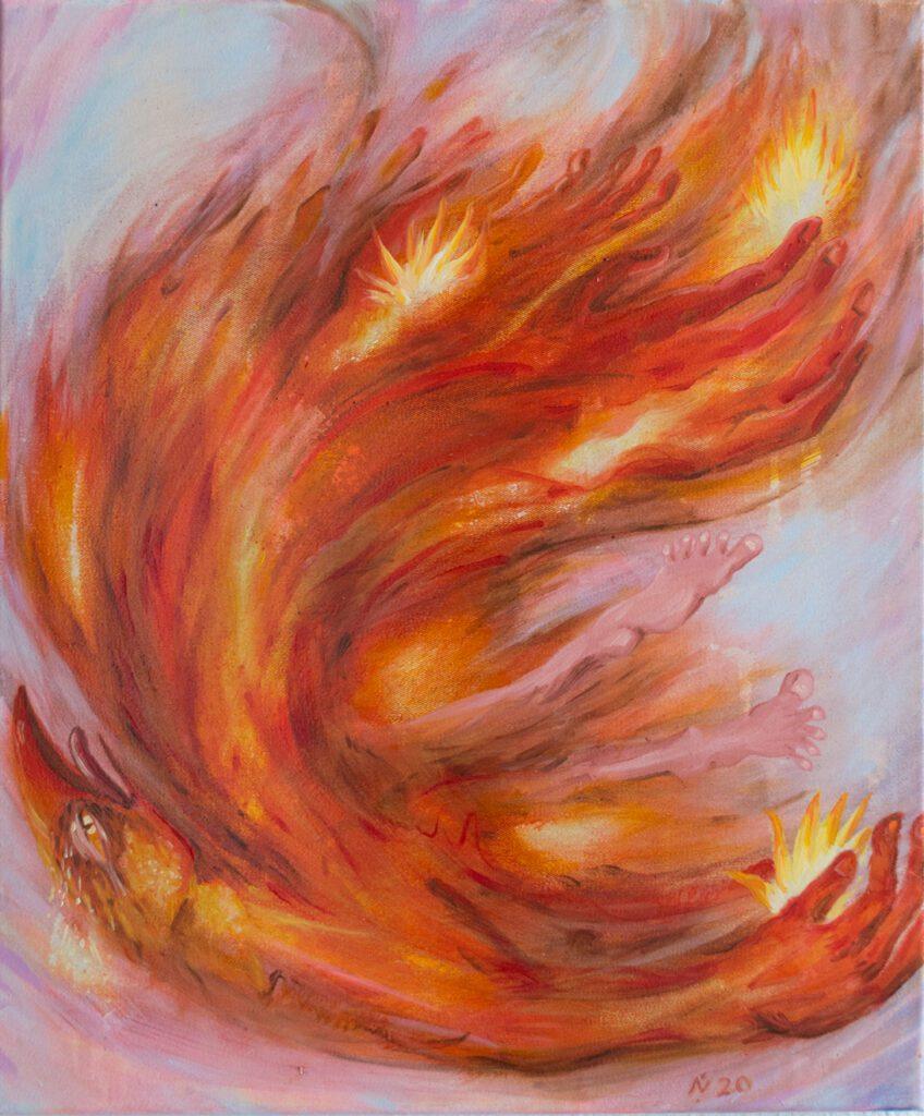 burning phoenix nika fontaine painting wildpalms