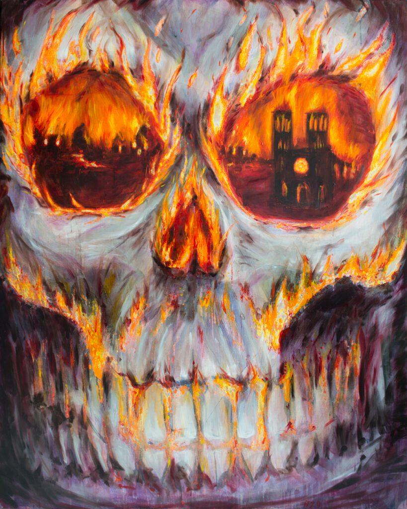 Nika Fonatine oil painting spiritual emergency 2020 wildpalms exhibition calcination