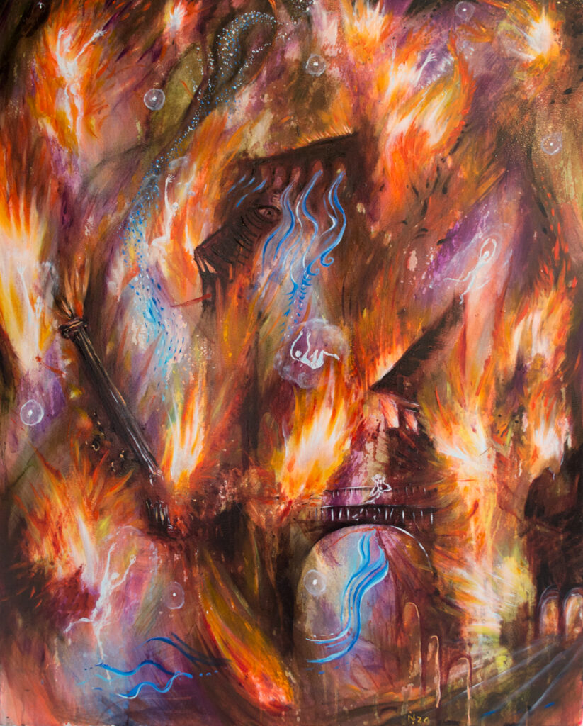 Nika Fontaone 2020 oil paintin inferno is the womb of heaven calcination wildpalms